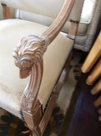 Hand carved Lion Head arm chair