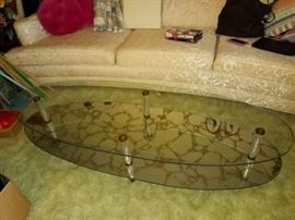 Mid modern century glass Hollywood table