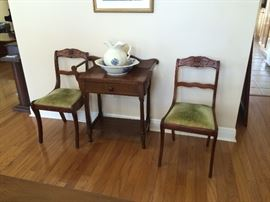 Two matching Roseback Chairs ,antique washstand,and Pitcher and Bowl