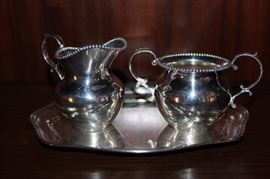Sterling silver creamer and sugar. Whiting, sterling tray.