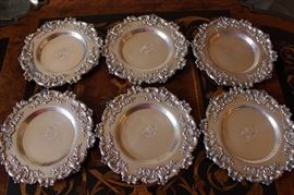 6 sterling wine bottle coasters? Smith Patterson of Boston.