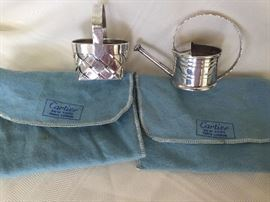 Cartier sterling basket and watering can