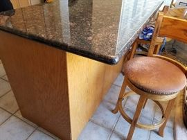 3'x5' Granite top Island/Bar. Cabinet drawers on the other side allow additional storage for your kitchen.