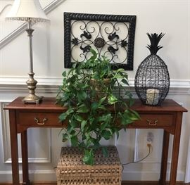 Foyer / Entry table. Beautiful Live Potted Plants and home decor