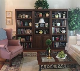 Wing back chair ~ Coffe table ~ Library Book Case ~ Books ~ lamps ~ decorative Pitchers ~