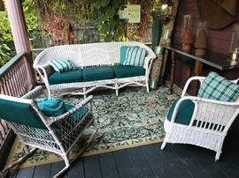 Wicker sofa, arm chair & rocker