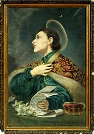 "10 - AFTER CARLO DOLCI, OIL ON CANVAS, 19TH C., H 26"", L 17"", PORTRAIT OF ST. CASIMIR"