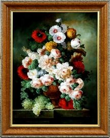 "2156 - ELBECO (20TH C.), CONTEMPORARY OIL ON CANVAS, H 30"", W 40"", STILL LIFE OF FLOWERS & GRAPES"