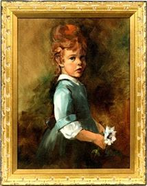 "2227 - Y ROSE OIL ON CANVAS GIRL WITH BLUE DRESS H 16"" W 12"""