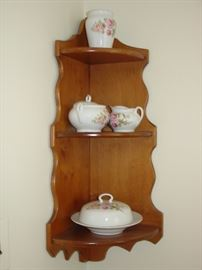 corner hugger shelf with china pieces - Germany