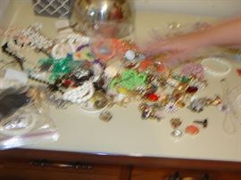 More signed and unsigned vintage costume jewelry