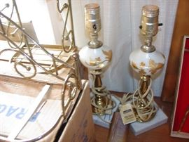 marble base gilded gold lamps