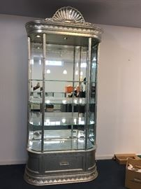 Silver leaf armoire- lights and thick glass shelves- 2 available