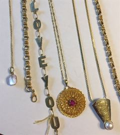 Gold bracelets and necklaces
