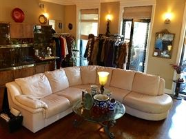 French vanilla 1970's leather 3 piece sectional sofa. 3 bay Vintage Wall Unit with drop down bar. Furs. Designer Clothing.