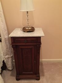 One of a PAIR of antique marble-top night stands.