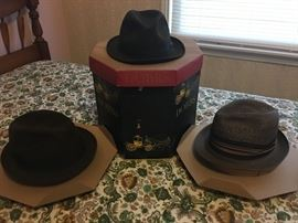 3 pc. collection of men's dobbs hats with hat box included