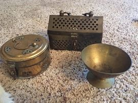 3 pc collection of various brass peices
