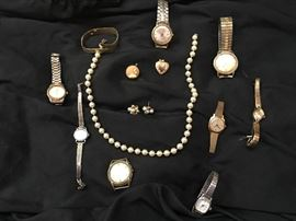 men's and ladies watches and costume jewelry