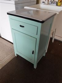 antique wood cabinet w/ porcelain top