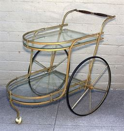 Mid- Century Glass Top Bar Cart