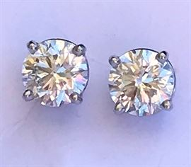 A Gorgeous Match Pair of Very Good Cut F SI2 GIA Diamond Studs on Platinum Screw back Mountings 1.44 carat total Dia. wt