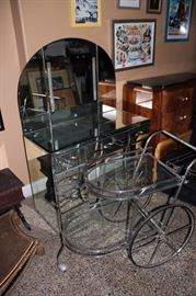 MIRRORED VANITY AND CHROME TEA CART