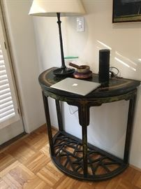 Side table - 1/2 round with painted inlay.