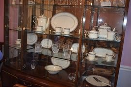 """Noritake Sheer Ivory Bone China Service for 12 Stanford Court Pattern ( 113pcs ) *** and  Lenox """"Windswept"""" Crystal ( 80+ pcs ) *** Plus *** Gorgeous Dining Suite in Immaculate Condition Features a """" Knockout"""" Dining Table that seats 12 with 12 Matching Chairs with Leaves and Pads, a Beautiful China Cabinet that is absolutely  made for Great Display and Storage, Lovely Mirror Backed Server for Silverware and Other Special Dining Accessories, plus a matching """"Romantic"""" (Throw Back to the 1920's) Glass Door Stemware Cabinet This One of a Kind Dining Room Set Suggests pure Dining Elegance from the moment you see it! A real prize for any Dining Experience!"""