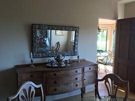 Beautiful sideboard, mirror and silverplate tea service