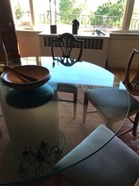 Glass top pedestal dining table - chairs not for sale