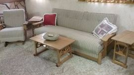 1950's Wagon wheel sofa (makes into bed) .  Has 2 end tables and one coffee table