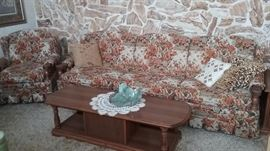 Vintage Long Flowered sofa and matching chair
