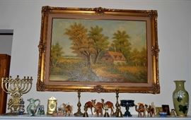 vintage framed print; many nice items from The Holy Land - menorahs, caved olive wood, etc.