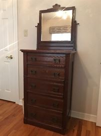 5 drawer antique high chest with mirror, unique locking system