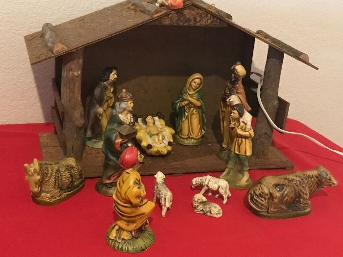 vintage Japanese nativity, with music box and light