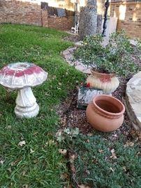 Birdbath  and pots for plants