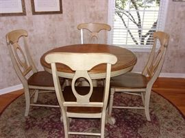 Pedestal kitchen table and four chairs