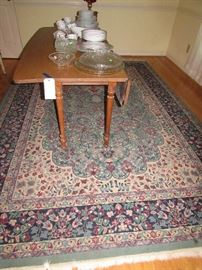 Ethan Allen harvest table, room size aqua background rug