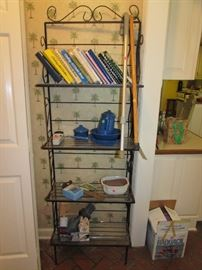 Wrought iron shelf unit, cooknbooks