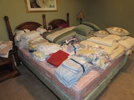 Tons of linens, bed sets, towels, king size bed including foundations