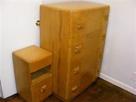 "Heywood Wakefield. RARE 1943-44 ""Rio Group"" 4 drawer chest and night stand."