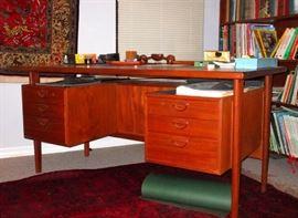 Danish Modern Mid-Century  Executive Teak Desk by Gunni Omann and sold by Illum Bolighaus