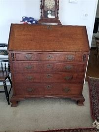 New England Chippendale tiger maple desk with original hardware