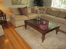ETHAN ALLEN FURNITURE THROUGHOUT. lOVE THIS COFFEE TABLE ON CASTERS!
