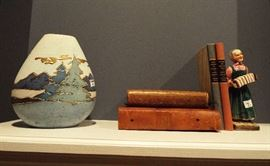Art vase, great books, figurine