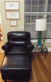 :Leather chair & ottoman