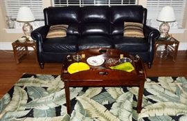 Leather sofa, side tables, pair shell lamps