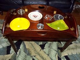 Butler's table & collection of mid-century modern ashtrays