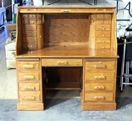 "Double Pedestal S-Roll Top Desk, 53""W x 54.5""H x 33""D"
